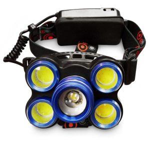 چراغ پیشانی هدلایت شارژی قوی ۵ لامپه زوم دار Rotary