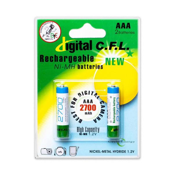 باتری نیم قلمی قابل شارژ CFL مدل 2700mah AAA بسته 2 عددی