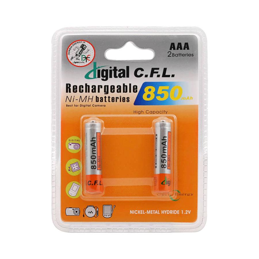 باتری نیم قلمی قابل شارژ CFL مدل ۸۵۰mah AAA بسته ۲ عددی
